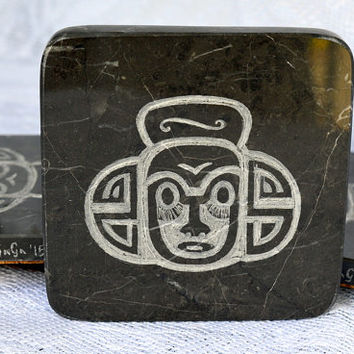Brown Marble coaster hand crafted natural stone Maori tribal design hand carving