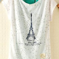 2 Pieces Tank Top Set with Eiffel Tower Print from topsales