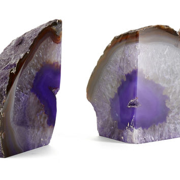 Pair of Agate Bookends, Purple, Bookends