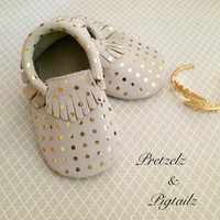 Gold Polka Dot Moccasins, Baby Moccasins, Leather Moccasins, Toddler Moccasins, Polka Dot Baby Shoes, Gold Moccasins, Baby Moccasins