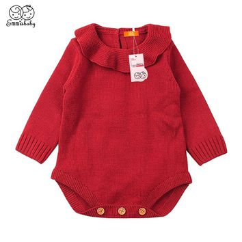 Emmababy Casual Baby Girl Winter Sweaters Clothes Solid Color Outfits Newborn Baby Boys Long Sleeve Warm Knitted Woolen Sweater