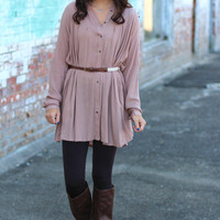 Belted Shirt Dress {Taupe}