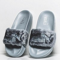 puma rihanna fenty leadcat fur slipper shoes grey  number 4