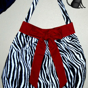 Crimson Zebra Tie Small Handbag/Tote by KraftyKreations4You