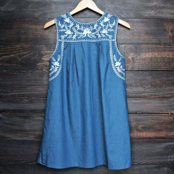 boho chic white embroidered denim shift day dress