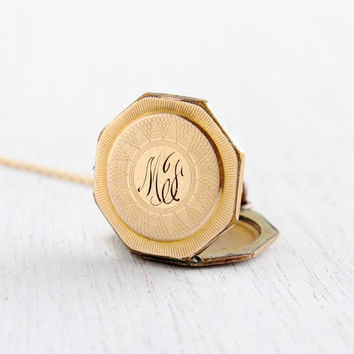 Antique Monogrammed Locket Necklace - Gold Filled 1930s Art Deco Octagon Initailed Jewelry