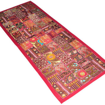 "60x20"" Patchwork Tapestry, wall hanging, Wall Tapestry, wall art , Indian Tapestry, Wall Hanging art, Indian Runner, Ethnic Wall Decor"