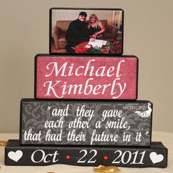 Personalized Wedding Gift Home Decor Blocks Custom Blocks with Picture Established Date Sign Gift for Bride and Groom