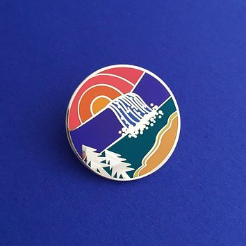 Sunset Waterfall Round Enamel Pin