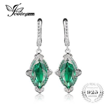 JewelryPalace Luxury 5.36ct Marquise Created Emerald Drop Earrings 100% 925 Sterling Silver Vintage Dangle Earrings Fine Jewelry