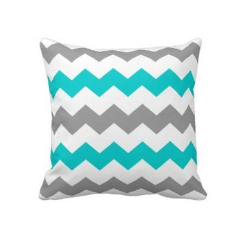 Turquoise and Grey Chevron Throw Pillow from Zazzle.com