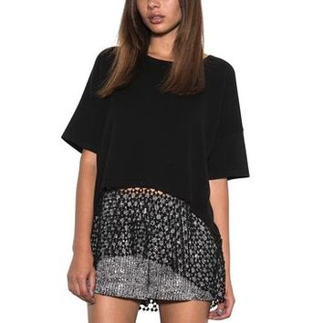 Women Payton Oversized Boxy Knit Top Crochet Lace Black Spring One Grey Day