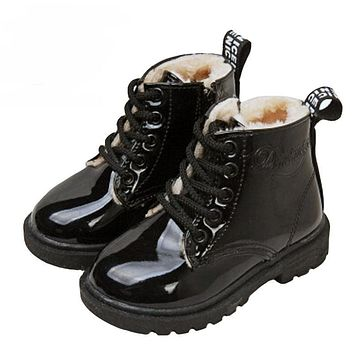 New fashion Infant children martin boots girls boys winter shoes kids rain boots PU Leather Kids Sneakers