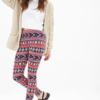 FOREVER 21 Paisley Tribal Print Leggings Navy/Red