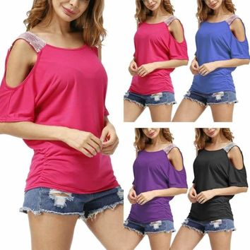 Fashion Summer Women Sexy Off Shoulder O Neck Sequins Short Sleeve Tops Ladies Girls Loose Casual Shirt FS99