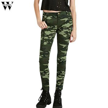 WOMAIL Women`s S-XXXXXL Plus Size Chic Camo Army Green Skinny Jeans For Women Femme Camouflage Cropped Pencil Pants Sept27