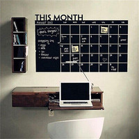 Monthly chalkboard Chalk Blackboard Wall Sticker Decor Month Plan Calendar DIY
