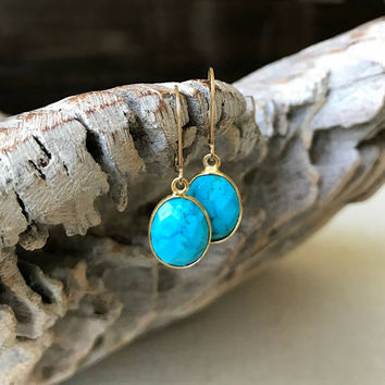 Turquoise Earrings, Gold Turquoise Earrings, Gold Oval Turquoise Earrings, Oval Turquoise Earrings,  Turquoise Earrings Gold, Turquoise