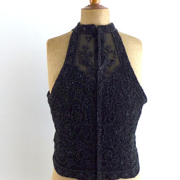 Vintage embroidered black glass bead silk crepe de chine sleeveless evening top