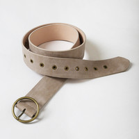 Wide Vegan Leather Belt in Beige