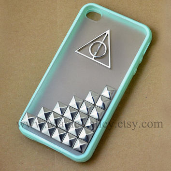 Studded Mint Green Iphone 4 case with Harry potter Deathly Hallows, Hard Case for Iphone 4, Iphone 4S, Iphone 4g