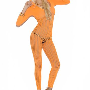 Crochet Bodystocking With 3/4 Sleeves And Hood (One Size,Neon Orange)