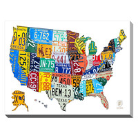 Framed Canvas Art License Plate Map USA by David Bowman (Canvas)