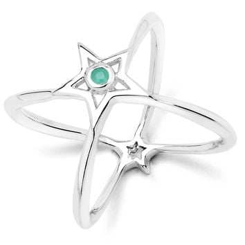 LoveHuang 0.03 Carats Genuine Emerald Infinite StarRing Solid .925 Sterling Silver With Rhodium Plating