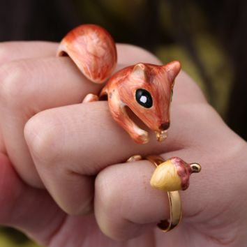 Slappy the Squirrel - Hand Painted Rings (3 pcs)