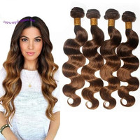 4Pc 8A Brazilian Virgin Hair Body Wave Ombre Hair Extensions