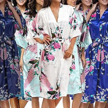Bridesmaid Robe Set of 10, Floral, Womens Sizes 2-18, Mid Length