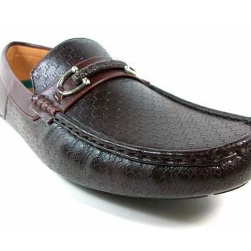 Mens Rocus Horse Bit Slip On Moccasin Loafers Shoes Ron Dark Brown