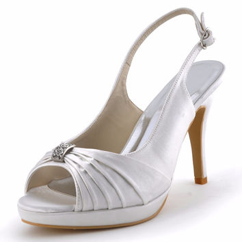 Shoes Woman EP2082-PF Ivory White Bride Peep Toe Party Sandals Rhinestones Slingback Platform Pleat Satin Wedding Shoes
