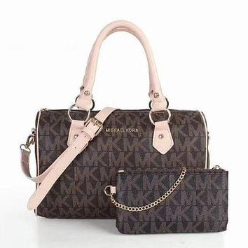 MK Michael Kors MK Women Leather Shoulder Bag Satchel Tote Handbag Crossbody Set Two P I