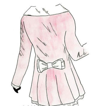 The Little Pink Coat - Print from original watercolor and pen fashion illustration by Lexi Rajkowski