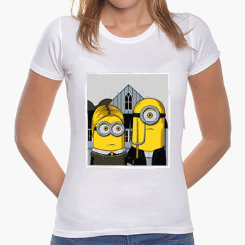"Minions as ""American Gothic Couple"" Women or Mens T-Shirt"
