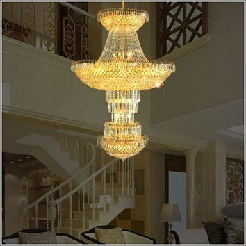 hotel lobby crystal chandelier modern high ceiling Led lamp chandeliers gold largest crystal chandelier multi lights chandelier