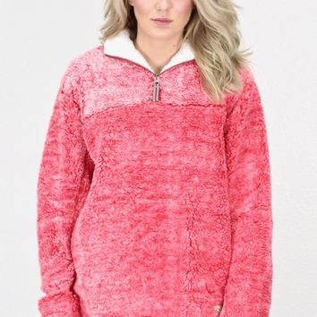 Luxury Quarter Zip Frosted Sherpa w/ Pockets {Red}