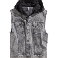 Hooded Denim Vest - from H&M