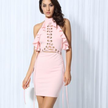 Pink Lace Up Ruffle Dress by LOVE&LEMONADE