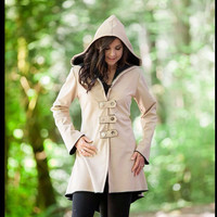 Taupe black corset laced raincoat festival clothing