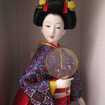 Vintage Hand Painted Japanese Large Porcelain Geisha Doll with Glass Eyes