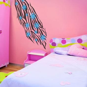 Vinyl Wall Decal Sticker Zebra Daisies #1030