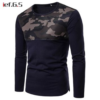 IEF.G.S men camouflage t shirt funny  casual fold net tshirt harajuku autumn tops male fashion longsleeve hiphop t-shirt