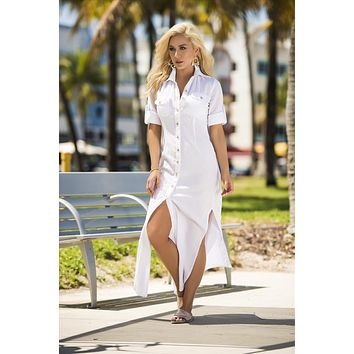 White Tailored Shirt Inspired Long Dress Resort Beach Wear
