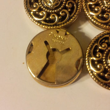 Vintage 1980's Gold Tone Nony New York Round Button Covers Set of 6