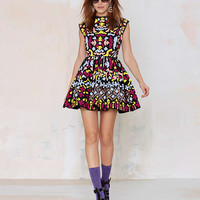 Sleeveless Abstract Printed Mini Dress