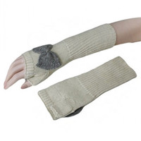 Bow Knit Long Mittens- Ivory