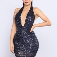 How To Party Sequin Dress - Navy