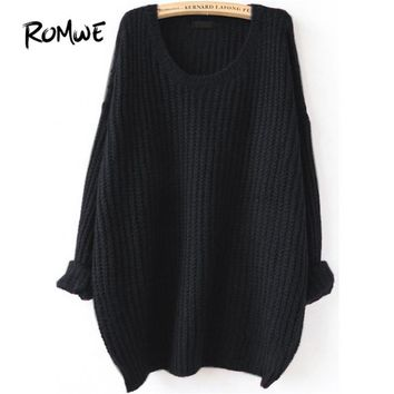 Drop Shoulder Textured Knitted Sweater Pullovers Women Black Loose Long Sweaters Fall Fashion Casual Basic Sweater